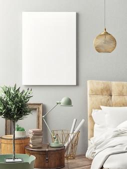 ベッドルームの流行に敏感なデザインのポスターを閉じる