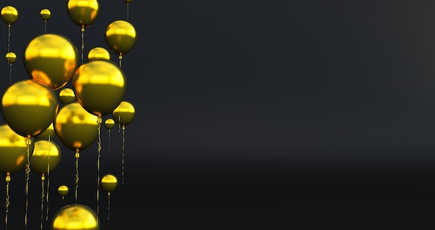 Close up and abstract of 3d gold balloons, 3d render, balloons isolated on background.