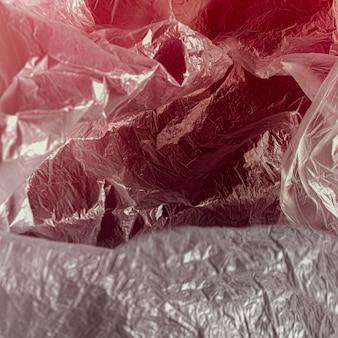 クローズアップの抽象的なビニール袋のコンセプト