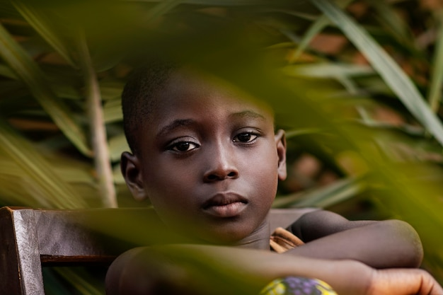 자에 포즈 클로즈업 아프리카 아이