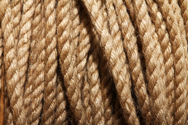 Close up of aged rope background
