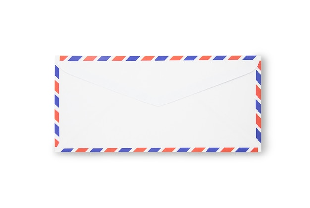 Close up air mail envelope isolated