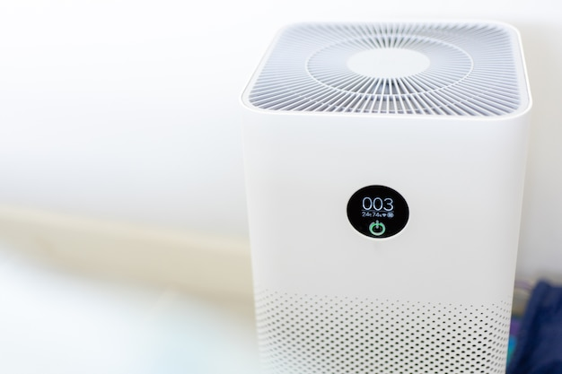 Close-up of an air purifier in the house