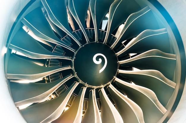 Close up of aircraft turbine engine