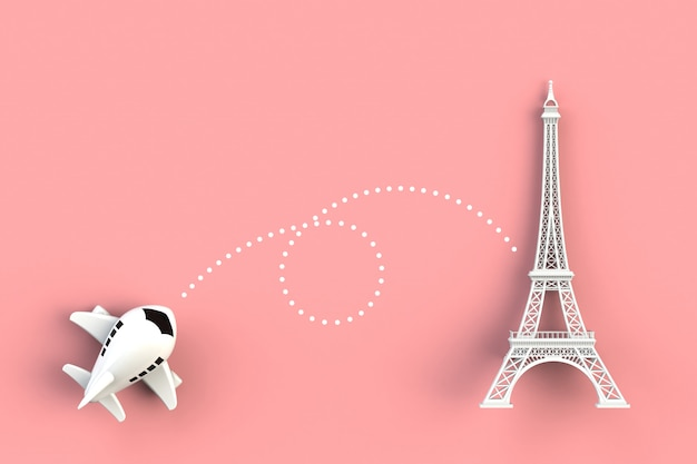 Close up of airplane flying go to eiffel tower concept illustration on pink background