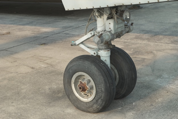 Close up on an airplane front wheel