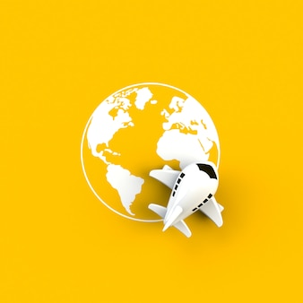 Close up of airplane on globe concept illustration on yellow background