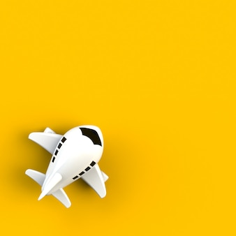 Close up of airplane illustration on yellow background