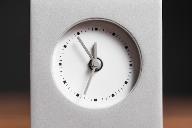 Close-up of an alarm clock face