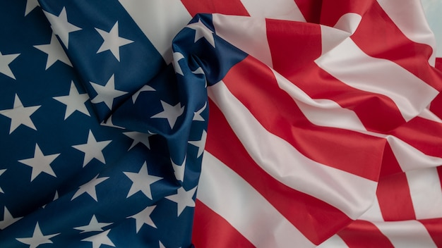 Американский флаг конца-вверх, предпосылка флага сша с космосом экземпляра. вид сверху Premium Фотографии