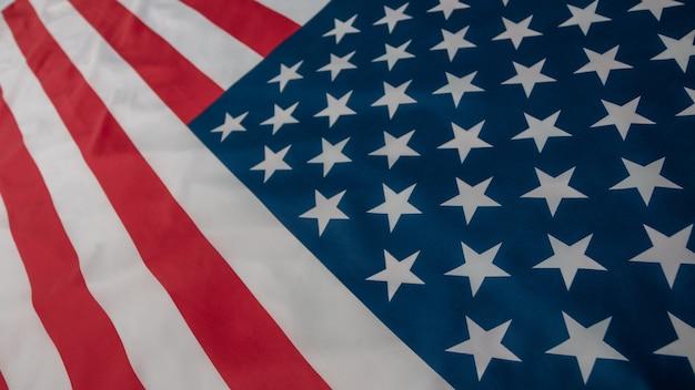 Американский флаг конца-вверх, предпосылка флага сша с космосом экземпляра. вид сверху