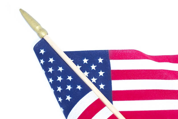 Close up american flag on white background. memorial day or 4th of july concept.