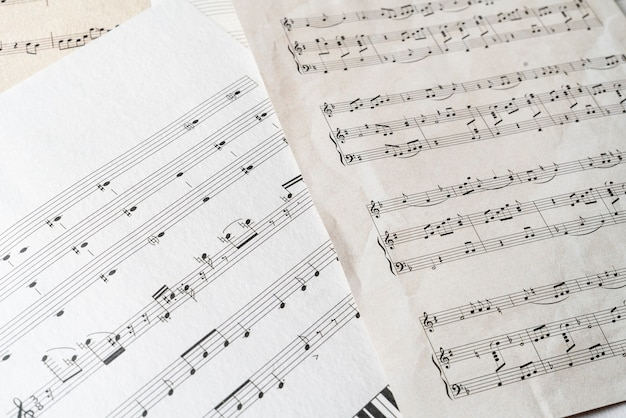 A close up ancient old paper sheet with music notes classic culture arts