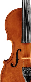 Close-up antique classical violin on grey background