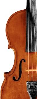 Крупным планом античная классическая скрипка на сером фоне