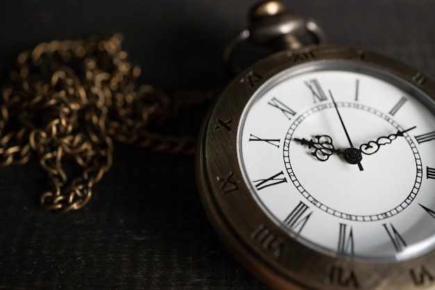 Close up antique pocket watch placed
