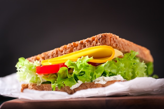 Close-up of appetizing sandwich with lettuce