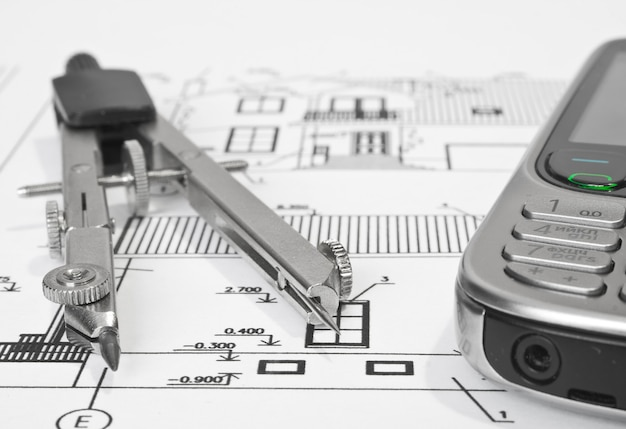 Close up of architect with blueprints