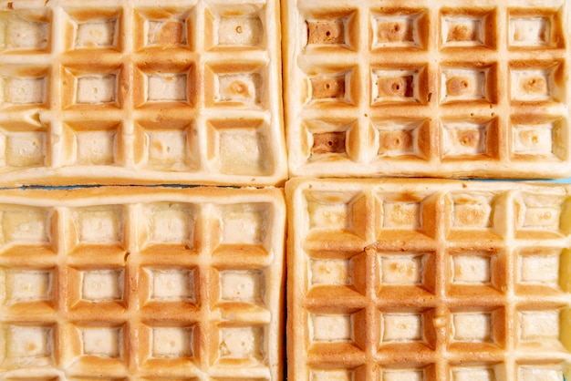 Close-up di waffle disposti