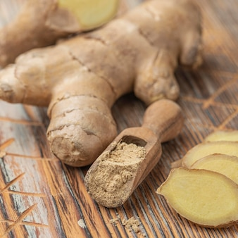 Close-up arrangement of ginger on table