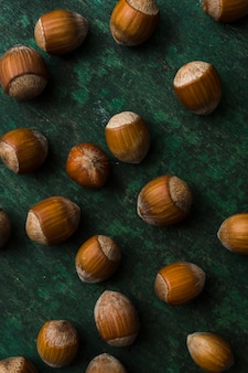 Close-up arrangement of nuts on the table