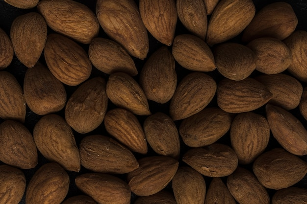Close-up arrangement of tasty almonds