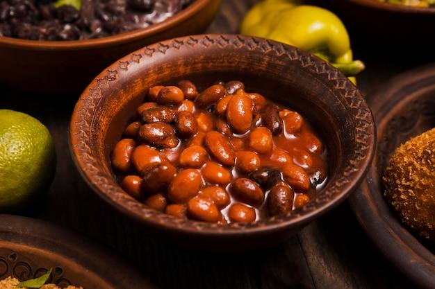 Close-up arrangement with delicious brazilian food
