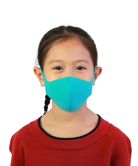 Close up asian child wear face mask over white