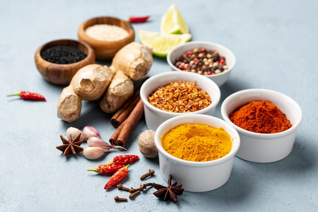 Close-up asian food ingredients arrangement