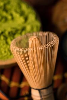 Close-up asian tea preparing process