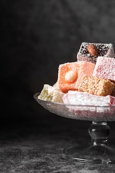 Close-up assorted sortiments of turkish delight