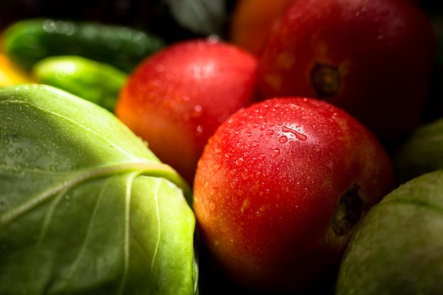 Close-up assortment of fresh autumnal vegetables and fruits