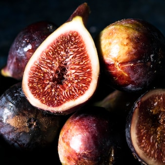 Close-up of autumn figs on plate
