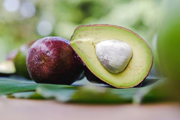 클로즈업 아보카도는 건강한 음식의 개념을 테이블에 반으로 만듭니다.