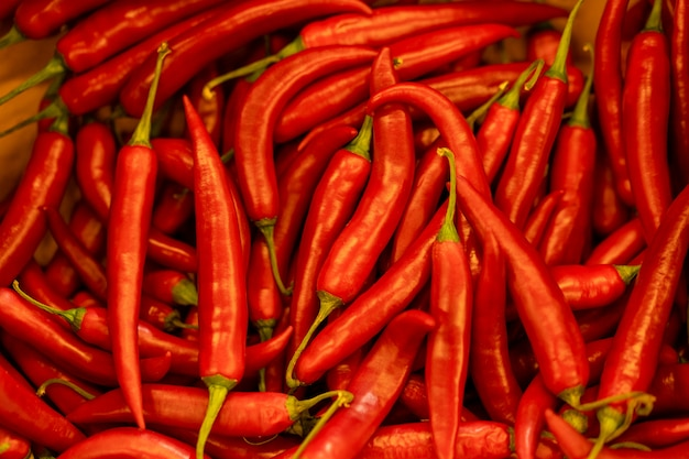 Close up background of hot red chilean pepper.