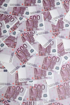 Close up background photo amount of five hundred notes of european union currency