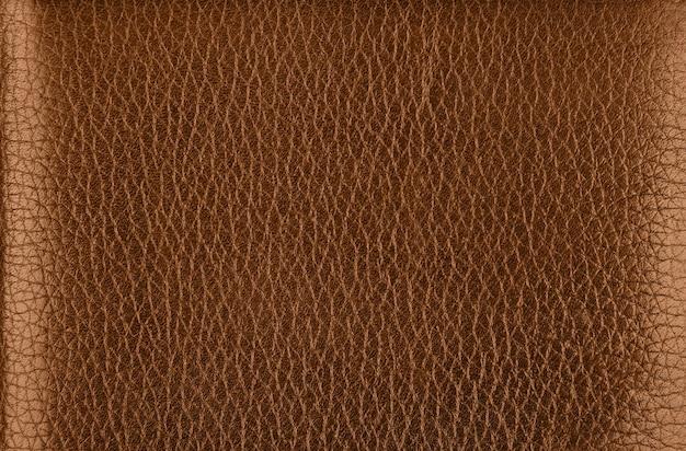 바로 위에 어두운 갈색 천연 가죽 그레인의 배경 텍스처 패턴을 닫습니다.
