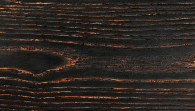 Close up background texture of vintage weathered brown wood with knots and stains