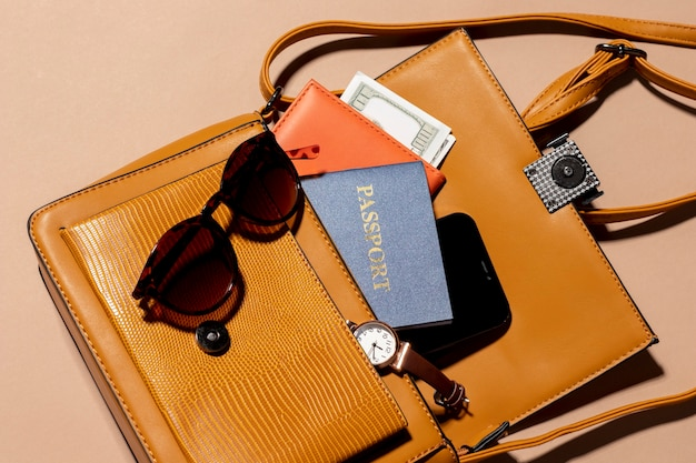 Close up backpack with passport