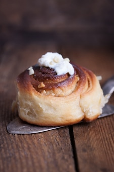 Close-up of baked bun