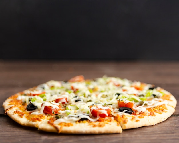 Close-up of baked pizza