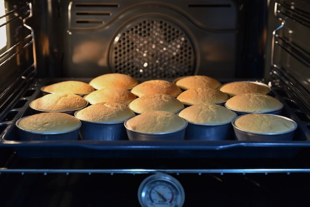Close up of baking cupcakes in the hot oven, homemade cake.