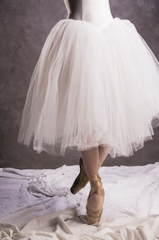 Close up ballerina dress and ballet shoes