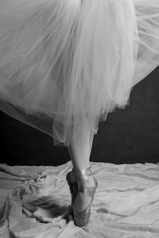 Close up ballerina in skirt and pointe shoes