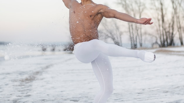 Close-up ballet dancer outdoor