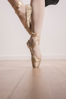 Close up ballet pointe shoes