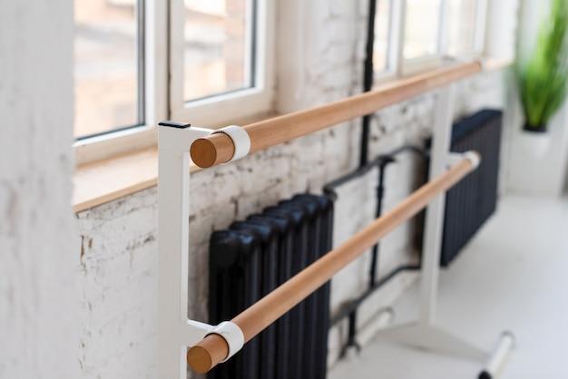 Close-up ballet studio handrail