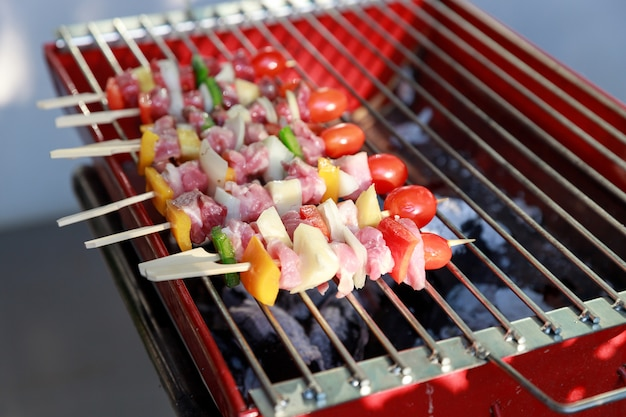 Close up barbecue grill with various kinds of meat.