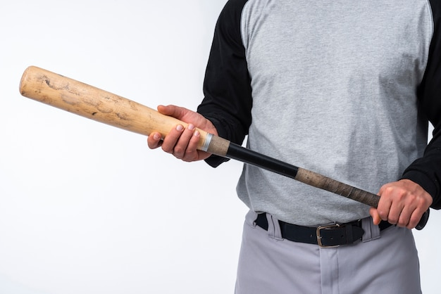 Close-up of baseball player holding bat