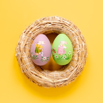 Close-up basket with painted eggs